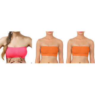 Bahucharaji Creation Dark Pink  Orange  Orange Color Free Size None Padded Tube 3 Set Of Bra(Fit Bust Size Between 30 To 36(A  B))