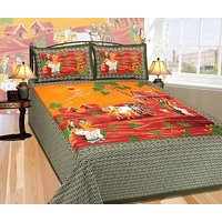 Home World Cotton Jaipuri Traditional King Sized Double Bedsheet (1 King Bedsheet, 2 Pillow Covers, Green)