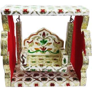 Wooden Handmade Meenakari Peacock Design Deity Jhula (10 Inches)