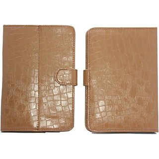 Jojo Flip Cover for Micromax Canvas Tab P470 (Light Brown)