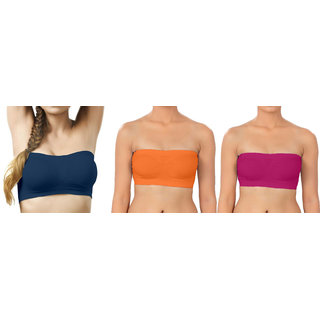 Bahucharaji Creation Nevy Blue  Orange  Pink Color Free Size None Padded Tube 3 Set Of Bra(Fit Bust Size Between 30 To 36(A  B))