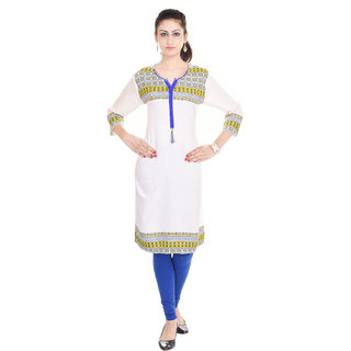 Beautiful Cotton Printed WhiteBlue Color Kurti House of Haritage Jaipur