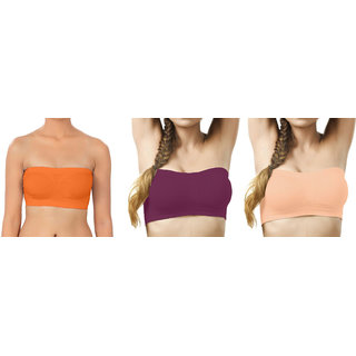 Bahucharaji Creation Orange  Light Brown  Light Orange Color Free Size None Padded Tube 3 Set Of Bra(Fit Bust Size Between 30 To 36(A  B))