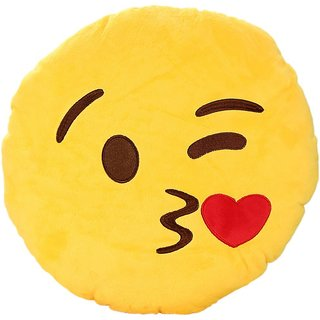 Royalkart Kiss Emoticon Cushion Giving Flying Kiss Emoji pillow