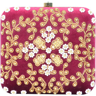 Tooba Handicraft Party Wear Hand Embroidered Box Clutch Bag Purse For  Casual 1fc405889013e