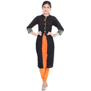 Beautiful Cotton Solid BlackOrange Color Kurti House of Haritage Jaipur