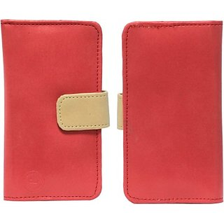 Jojo Pouch for Lenovo A60+ (Red, Beige)