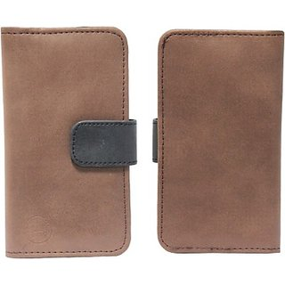 Jojo Pouch for Micromax Canvas 2 Plus (Brown, Black)