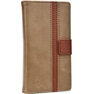 Jo Jo Pouch for Lenovo S880 (Light Brown, Dark Brown)