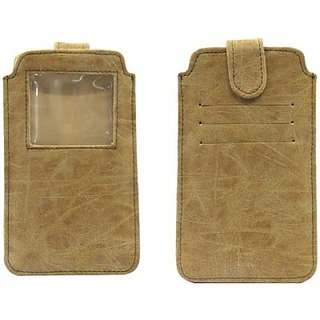 Jo Jo Pouch for Celkon Q3000 (Light Brown)