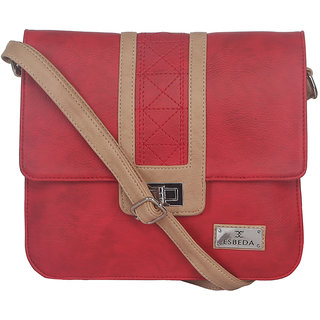ESBEDA Red color Solid Slingbag for womens 1458
