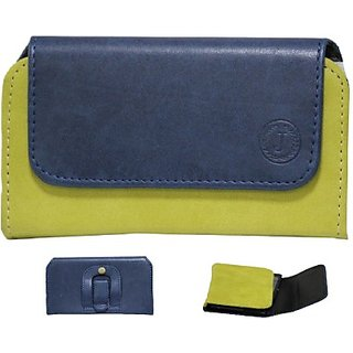 Jojo Pouch for Micromax Bolt A28 (Dark Blue Parrot Green)