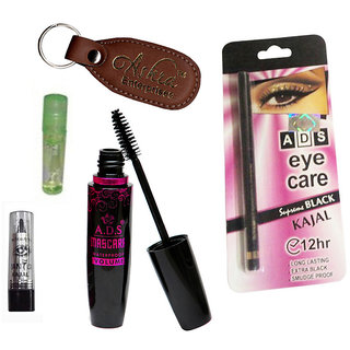 Ads 1625 Mascara, Kajal, Eye Care Kajal, Lip Gloss With Ashra Keychain