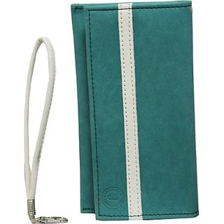 Jojo Pouch for Micromax Canvas 2.2 A114         (Light Blue, White)