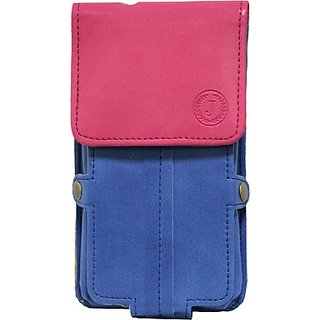 Jo Jo Pouch for Micromax A101         (Dark Blue Exotic Pink)