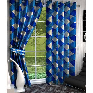 Elegance Light BLUE Eyelet check Polyester 3 Window Curtain