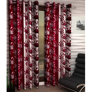 Elegance Red Eyelet Floral Polyester 1 Door Curtain