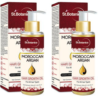 St.Botanica Moroccan Argan Hair Growth Oil (With Jojoba, Almond, Castor, Olive, Avocado, Rosemary) - Pack of 2