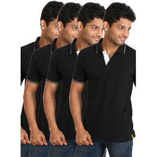 Campus Sutra Combo Polo Neck with Tipping Tshirt Pack of 3 Option 2