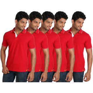 Campus Sutra Black Polo Neck with Tipping Tshirt Pack of 5