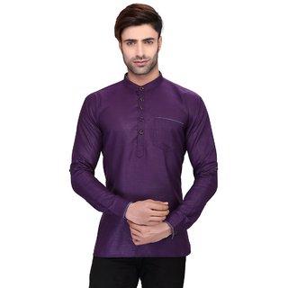 RG Designers Men's Full Sleeve Short kurta AVSONAPOCKET-PURPLE