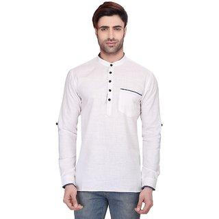 RG Designers Men's Full Sleeve Short kurta AVSONAPOCKET-WHITE