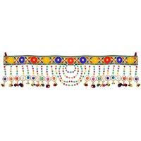 Handmade Door Hanging Bandhanwar01 Toran(Multicolor Crystle, Golden Beads, Embroidered Patti, Wooden Moti)