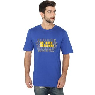 FABNAVITAS  - Puzzle Tee - Blue Cotton Printed T-shirt