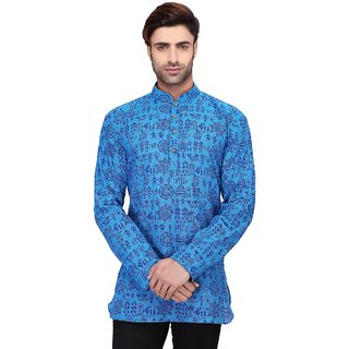RG Designers Men's Full Sleeve Short kurta D6578BlueWarli