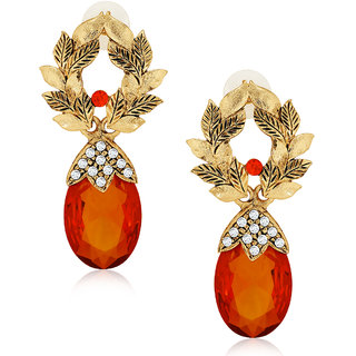 Spargz Designer Orange Brass Cubic Zircon Drop Earring For Women AIER 567