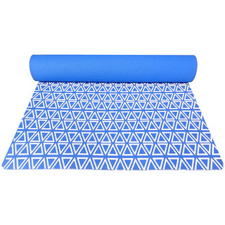 Gravolite 11 Mm Thickness 2.1 Feet Wide 6 Feet Length Triangle Print Design German Blue Yoga Mat