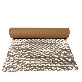Gravolite 11 Mm Thickness 2.1 Feet Wide 6.5 Feet Length Triangle Print Design Brown Yoga Mat