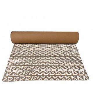 Gravolite 10 Mm Thickness 3 Feet Wide 6 Feet Length Triangle Print Design Brown Yoga Mat