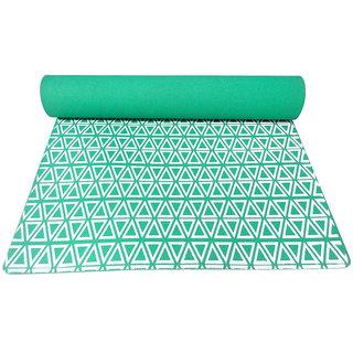 Gravolite 4 Mm Thickness 3 Feet Wide 6 Feet Length Triangle Print Design Green Yoga Mat