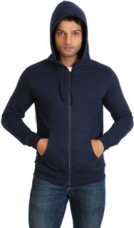 Campus Sutra Blue Zipped Men Hooded Sweatshirt Option 1