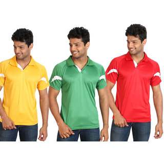 Campus Sutra Mens Multicolor Polo Neck Tshirt (Pack of 3)