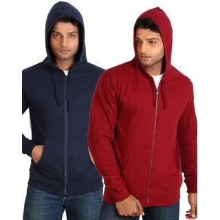 Campus Sutra Maroon Zipped Men Hooded Sweatshirt Option 3
