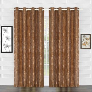 Door Curtain Jacquard Floral Design Brown Bh13C8D