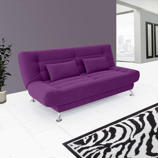 0a881fff60b Fabhomedecor - Alifa Wooden Frame Sofa Cum Bed With Fabric Upolstry And  Metal Legs - Purple