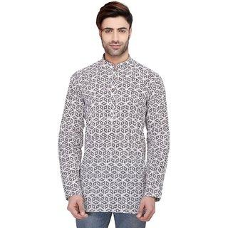 RG Designers Men's Full Sleeve Short kurta D6578PurpleChakra