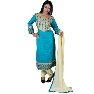 Designer Blue  Malai cotton Churidar kurta Dupatta set (Full stitched suit)