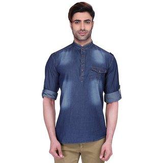 RG Designers Men's Full Sleeve Short kurta ChineseCollarDarkDenimKurta