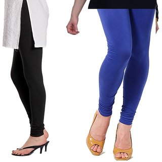 Stylobby Black And Blue Cotton Lycra Pack Of 2 Leggings