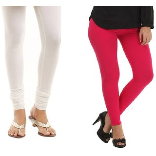 Stylobby White And Hot Pink Cotton Lycra Pack Of 2 Leggings