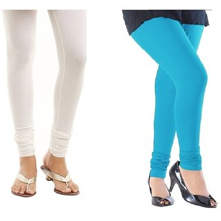 Stylobby White And Sky Blue Cotton Lycra Pack Of 2 Leggings