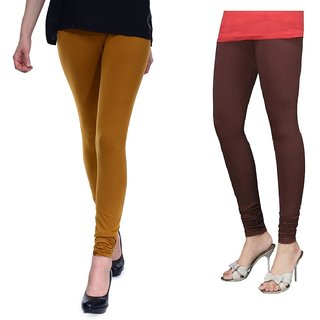 Stylobby Mustard And Brown Cotton Lycra Pack Of 2 Leggings