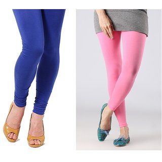 Stylobby Blue And Baby Pink Cotton Lycra Pack Of 2 Leggings