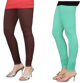 Stylobby Brown And Green Cotton Lycra Pack Of 2 Leggings