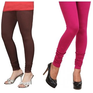 Stylobby Brown  Pink Cotton Lycra Plain Legging (Pack Of 2)