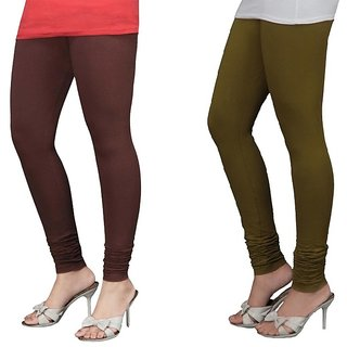 Stylobby Brown And Olive Green Cotton Lycra Pack Of 2 Leggings